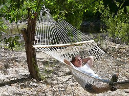 enjoying the hammock at a B&B near Silver City